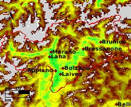 NDVI Satellitenbild Bolzano KW17 Mittelwert 1995-2006