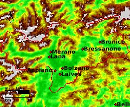 NDVI Satellitenbild Bolzano KW20 Mittelwert 1995-2006