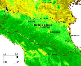 NDVI Satellitenbild Emilia Romagna KW20 Mittelwert 1995-2006