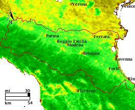 Satellite image Emilia-Romagna cw21 average 1995-2006