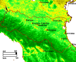NDVI Satellitenbild Emilia Romagna KW22 Mittelwert 1995-2006