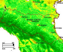 NDVI Satellitenbild Emilia Romagna KW23 Mittelwert 1995-2006