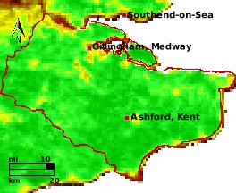 NDVI Satellitenbild Kent KW17 Mittelwert 1995-2006