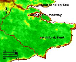 NDVI Satellitenbild Kent KW19 Mittelwert 1995-2006