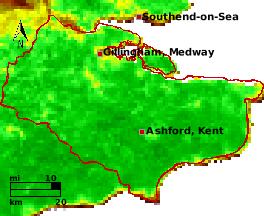 NDVI Satellitenbild Kent KW20 Mittelwert 1995-2006