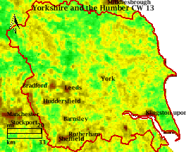 NDVI Satellitenbild Yorkshire and the Humber KW13 Mittelwert 1995-2006