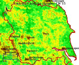 NDVI Satellitenbild Yorkshire and the Humber KW15 Mittelwert 1995-2006
